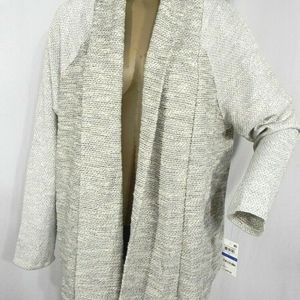 Womens Draped Open Front Marled Cardigan